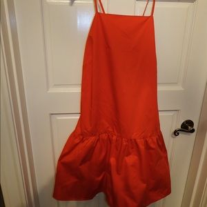 Red cotton dress with cross back